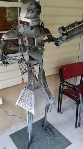 julian allegro artwork 6ft lifesize steel robot lamp with machine
