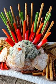 thanksgiving turkey bread bowl appetizer with spinach ranch dip
