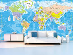 World Map Wall Sticker by World Political Map Wall Mural Miller Projection