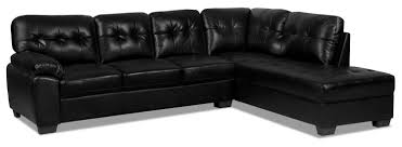 tobi 2 piece leather look right facing sectional u2013 black the brick