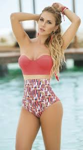 high waisted swimsuits sexy coral one piece swimsuit high waisted swimsuits strapless one