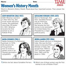 women u0027s history month printables time for kids teach the