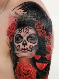 female vampire sugar skull sleeve tattoos