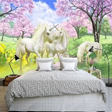 cherry blossom wall murals picture more detailed picture about custom mural wallpaper european fantasy style fairy tale cartoon unicorn cherry blossom wall mural for kids
