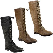 womens biker style boots womens tall lace up knee high military boots ladies new 3 8