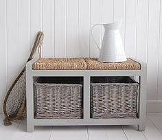 Storage Bench With Baskets Hallway Storage Bench With Square Wicker Baskets Great For Shoe