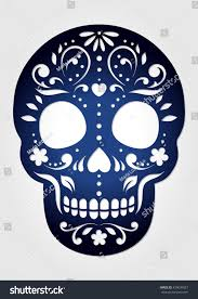 decorative ornamental sugar skull laser cutting stock vector