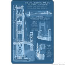 wall blueprints golden gate bridge blueprint wall decal lantern press