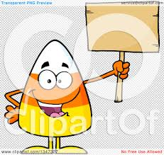 blank halloween background clipart of a cartoon halloween candy corn character holding up a