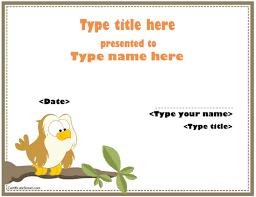 borderless certificate templates certificate templates with animals certificatestreet com kids