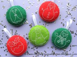 embroidered christmas bugs and fishes by lupin how to embroidered felt christmas baubles