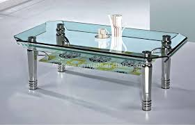 Glasses Coffee Table Furniture Fancy Modern Expandable Rectangle Shape Glass Coffee