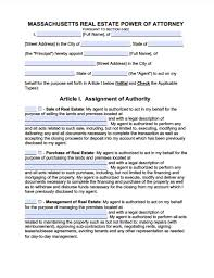 massachusetts real estate only power of attorney form power of