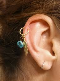 cartilage earrings hoop turquoise gold cartilage hoop feather earring boho tragus