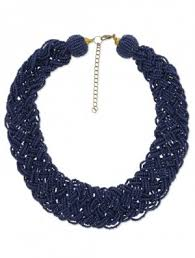 blue beaded necklace images Necklaces navy blue beaded and braided statement necklace limeroad jpg
