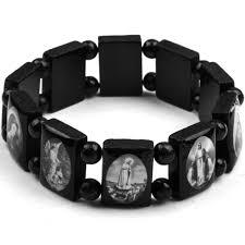 catholic bracelet men s black religious bracelet catholic saints jesus stretch