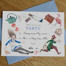 alice in wonderland mad hatter tea party invitations by naomi stay