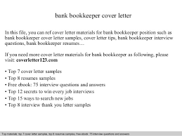 Bookkeeping Resumes Samples by Bank Bookkeeper Cover Letter