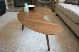 Boomerang Coffee Table Mid Century Modern Coffee Table Walnut Kidney Bean Extra