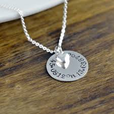 Personalized Stamped Necklace Coordinate Necklace Latitude Longitude Necklace Custom