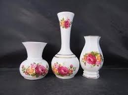 vintage cottage pattern three vases gilt trim bone china