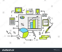 data analysis icon flat design business stock illustration
