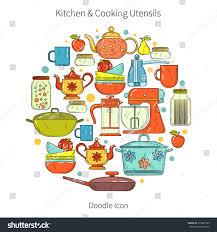 set kitchen utensils food cookware home stock vector 316887563