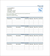 price list template 25 free word excel pdf psd format