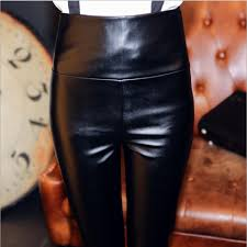 Comfortable Trousers For Women 2017 7008 Women Tight Pants Faux Leather Legging Stretchy Soft