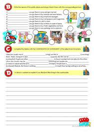 city vs countrylife test 7th grade worksheet free esl