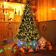 8 ft pre lit artificial christmas tree w stand u0026 450 led lights
