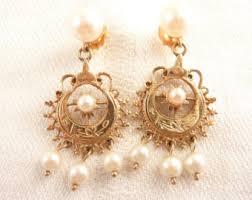 Vintage Pearl Chandelier Earrings Vintage Chandelier Earrings Etsy