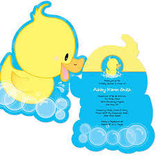 ducky duck shaped baby shower invitations bigdotofhappiness