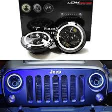 jeep wrangler blue headlights ijdmtoy jeep wrangler led headlights led halo rings