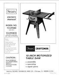 Ryobi Table Saw Manual 113 295820 Craftsman 10 Inch Motorized Table Saw Manual