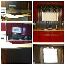 red cabinets corrugated tin backsplash u0026 island our diy kitchen