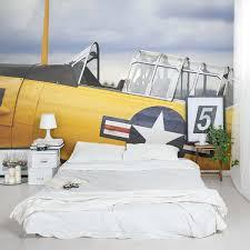 vintage yellow plane wall mural