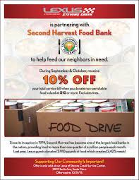lexus of creek service center feeding the hungry second harvest food drive journal lexus of