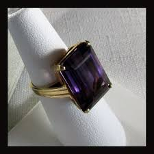 14k gold large diamond amethyst large 14k yellow gold emerald cut amethyst ring size 6 from 4sot