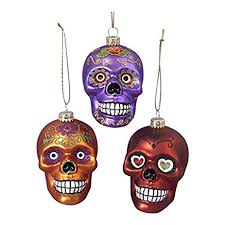 glass skull ornament set of 3 home kitchen