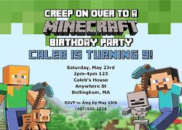 minecraft birthday invitations minecraft birthday party invitations kids birthday