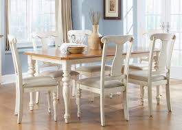 casual dining table in bisque with natural pine finish solid