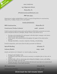 resume construction experience resume gallery of professional construction worker resume sample