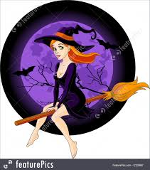 halloween background witch moon illustration of witch riding a broom