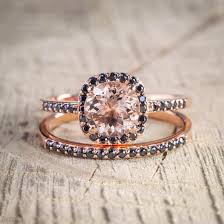 black and pink wedding ring sets limited time sale 2 carat pink morganite cut and
