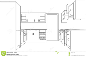 drawing of a fitted kitchen stock photography image 19438192