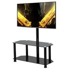 Tv Stands For Flat Screen Tvs Topeakmart Large Swivel Tv Stand Mount 2 Tier Black Glass Shelf