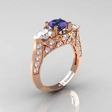 cz engagement ring modern 14k gold three alexandrite cz solitaire