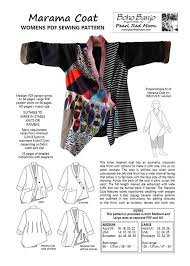 pattern art pdf marama coat womens pdf sewing pattern boho banjo art to wear