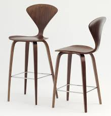 Modern Wood Bar Stool Classic Walnut Wood Materials With Four Wood Base As Inspiring